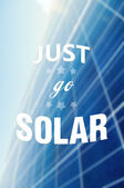 Just go solar quote or text on solarpower panel background — Stock Photo
