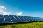 Green energy with solar panels outdoor — Stock Photo