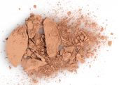 Close up of a make up powder on white background — Stock Photo