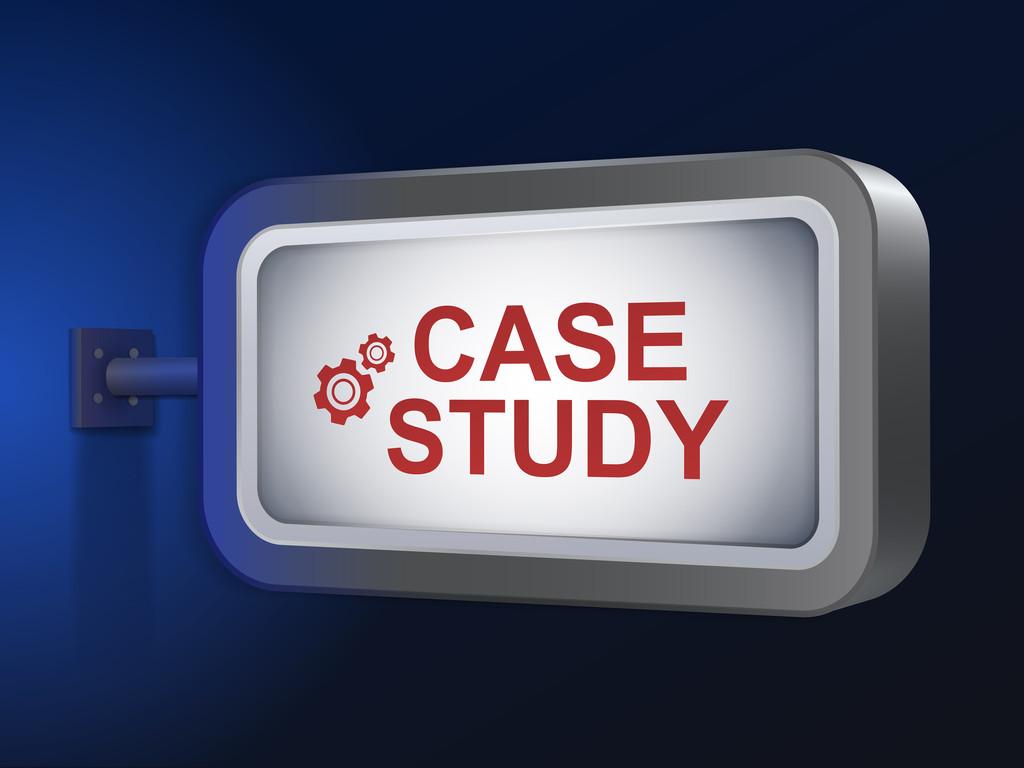 Case study words on billboard  — Stock Vector