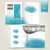 Blue template for advertising brochure with blue watercolor spla — Stockvektor