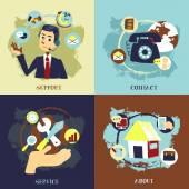 Düz çizmek için iş müşteri hizmeti kavramları — Stok Vektör