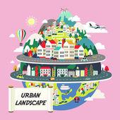 城市景观平台的设计 — 图库矢量图片