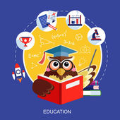 Flat design for education concept with an owl — Stock Vector