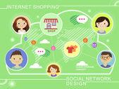 Flat design for social network concept — Stock Vector