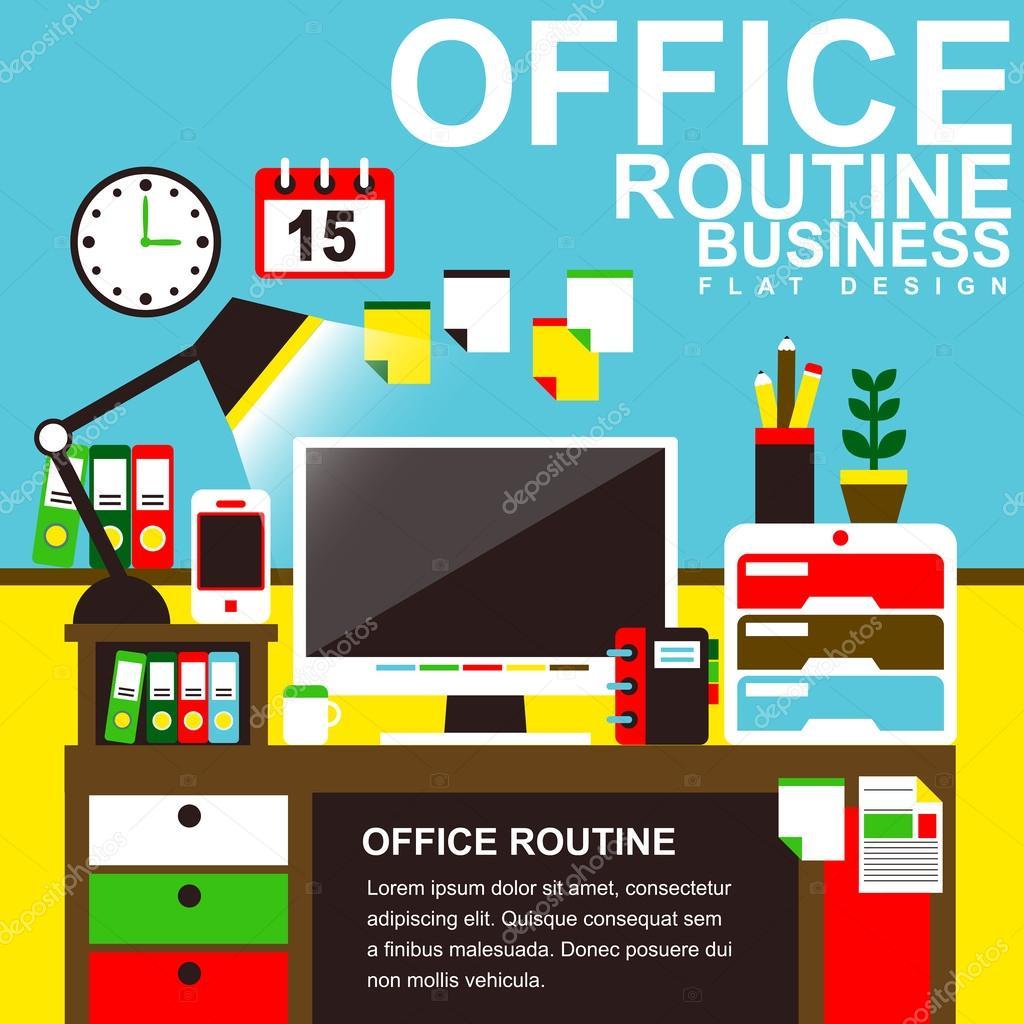 Dise o plano para conceptos interior oficina moderna for Concepto de oficina