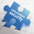 Information security on blue puzzle pieces — Stock Vector #52592921