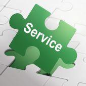 Service word on green puzzle pieces  — Vector de stock
