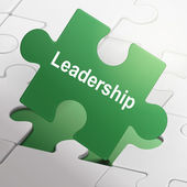 Leadership word on green puzzle pieces — Stock Vector