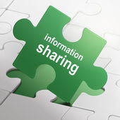 Information sharing on green puzzle pieces  — Wektor stockowy
