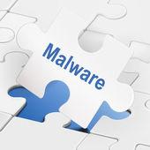 Malware word on white puzzle pieces  — Vecteur