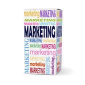 Palavra marketing na caixa do produto — Vetor de Stock