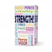 Strength word on product box — Stock Vector