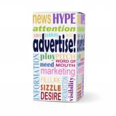 Anunciar a palavra na caixa do produto — Vetor de Stock