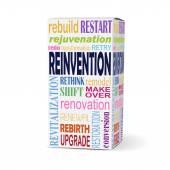 Palabra de reinvención de la caja del producto — Vector de stock