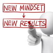 New mindset to new results written by 3d man — Stock Vector