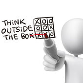 Think outside the box words written by 3d man — Vecteur