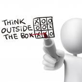 думаете за пределами коробки слова написаны 3d человек — Cтоковый вектор