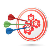 Cooperation concept target with darts hitting on it — Stock Vector