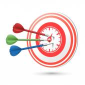 Time concept target with darts hitting on it  — Vector de stock