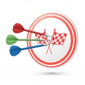 Race concept target with darts hitting on it — Stock Vector