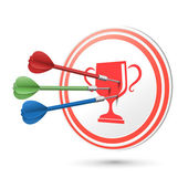 Achievement concept target with darts hitting on it — Stock Vector