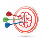 Brain icon target with darts hitting on it — Stock Vector