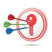 Key icon target with darts hitting on it — Stock Vector