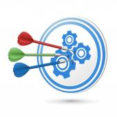 Cooperation concept target with darts hitting on it  — Vector de stock