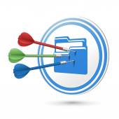 File icon target with darts hitting on it — Stock Vector