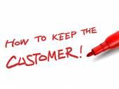 赤いマーカーで、顧客を維持する方法 — ストックベクタ