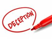 The word deception with a red marker  — Stock Vector