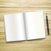 Libro abierto en blanco sobre el escritorio de madera — Vector de stock