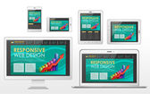 Responsive web design concept in different devices — Vetorial Stock
