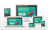 Responsive web design concept in different devices — Stock Vector