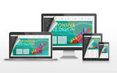 Responsive web design concept in different devices — Stockvector