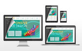 Responsive web design concept in different devices — Stockvektor