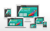 Responsive web design concept in different devices — Wektor stockowy