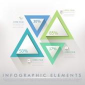 Papel colorido moderno triángulo abstracto infografía — Vector de stock