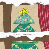 Christmas tree seen through a wooden window — Stock Vector