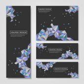 Geometric colorful triangles design for banners set — Stockvektor
