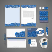 Blue mosaic background design for corporate identity set — Stock Vector