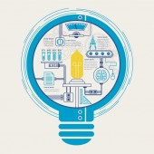 Education infographic with creative bulb element  — Stok Vektör