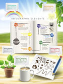 Creative infographic elements isolated on table  — 图库矢量图片