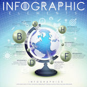 Abstract background with globe and icons infographic elements  — Vector de stock