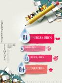 Pencil and books infographic elements design  — Stockvektor