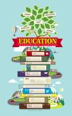 Education infographic design elements with tree and books — Stock Vector