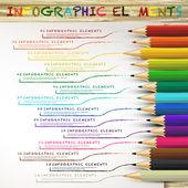 Образовательная инфографика с красочными линиями рисунка карандашей — Cтоковый вектор