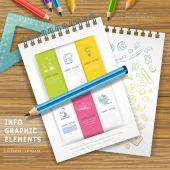 Education infographic design with pencils and notebooks  — Vector de stock