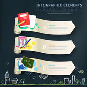 Education infographic design elements with banners  — Stock Vector